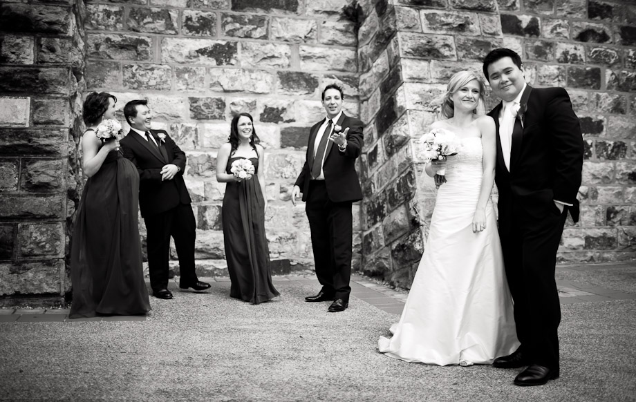 bridal party photo outside marriott hotel brisbane