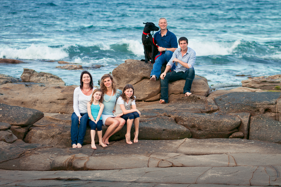 happy family and dog portrait alex heads sunshine coast photography
