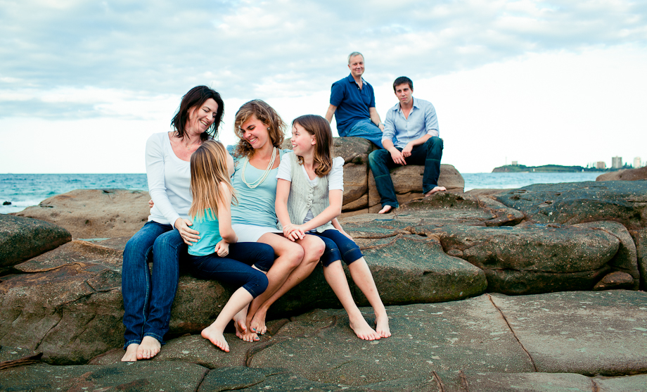 happy family portrait alex heads rocks sunshine coast photography